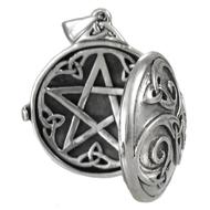 Sterling Silver Celtic Swirl Hidden Pentacle Locket Pendant