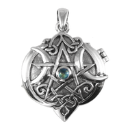 Sterling Silver Heart Pentacle Locket with Rainbow Moonstone