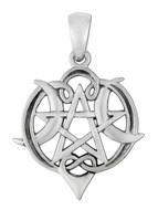 Sterling Silver Small Heart Pentacle Pendant