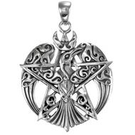 Sterling Silver Large Crescent Raven Pentacle Pendant