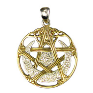 Sterling Silver Cut Out Moon Pentacle Pentagram Pendant Vermeil Jewelry