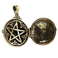 Bronze Celtic Swirl with Hidden Pentacle Locket Pendant