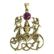 Bronze Rhiannon Pendant with Amethyst Welsh Celtic Horse Goddess