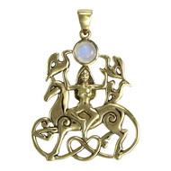 Bronze Rhiannon Pendant with Rainbow Moonstone Welsh Celtic Horse Goddess
