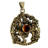 Bronze Odin Pendant with Amber