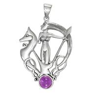 Sterling Silver Morrigan Goddess Pendant with Amethyst