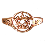 Copper Crescent Moon Pentacle Ring