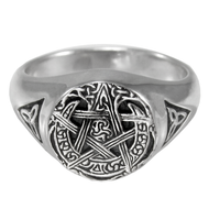 Sterling Silver Moon Pentacle Ring