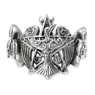 Sterling Silver Crescent Raven Pentacle Ring