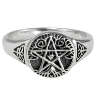 Sterling Silver Small Tree Pentacle Ring