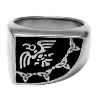 Large Sterling Silver Raven Banner Signet Ring