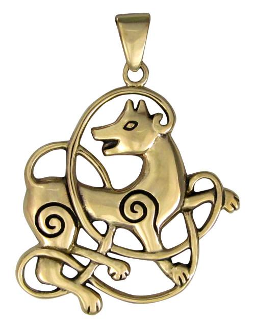 Bronze Celtic Knot Wolf Pendant - Knotwork Totem Animal Jewelry Dryad Design