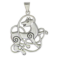 Sterling Silver Celtic Wolf Pendant