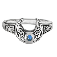 Horned Moon Ring with Rainbow Moonstone