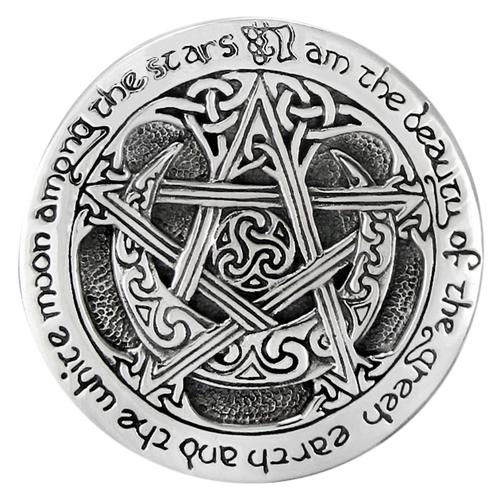 Sterling Silver Moon Pentacle Brooch