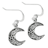 Sterling Silver Horned Moon Pentacle Earrings