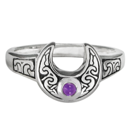 Sterling Silver Horned Moon Ring with Amethyst