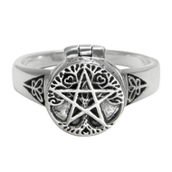 Sterling Silver Tree Pentacle Poison Locket Ring