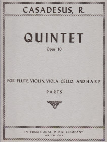 Casadesus: Quintet Op. 10 for Flute, VIolin, Viola, Cello, and Harp (PARTS)