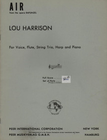 Harrison: Air from the opera Rapunzel for Voice, Flute, String Trio, Harp, and Piano (SCORE)