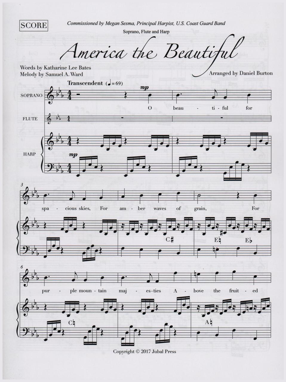 Burton, America the Beautiful (Soprano, Flute & Harp) (DIGITAL DOWNLOAD)