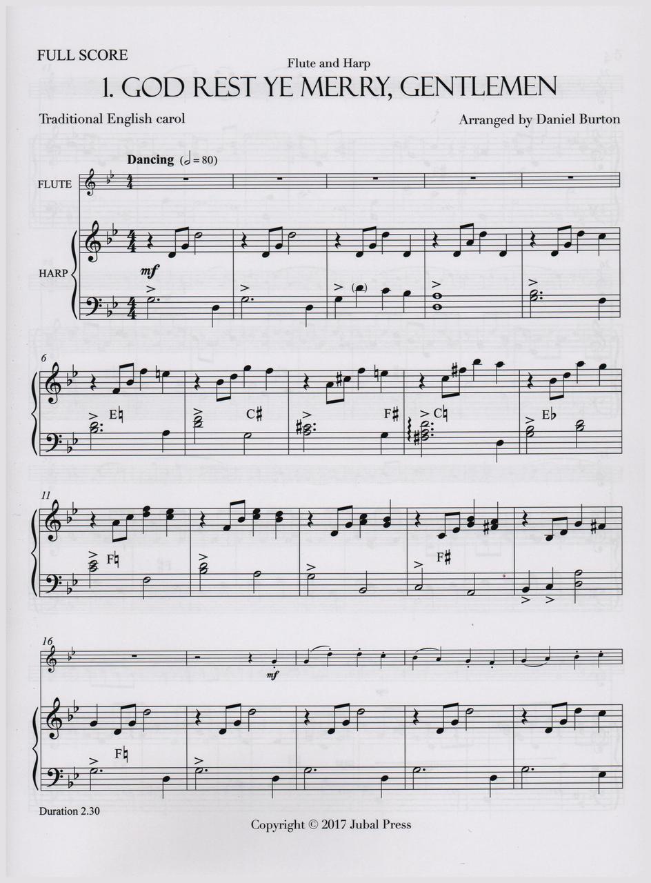 Christmas Carol Music.Burton Christmas Carols For Flute And Harp Digital Download