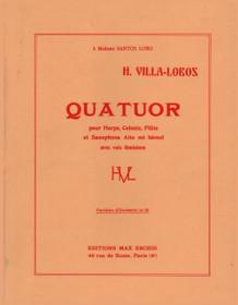 VILLA-LOBOS, QUATUOR FOR HARP, CELESTA, FLUTE, SAXOPHONE AND WOMEN'S VOICES. (mini score)