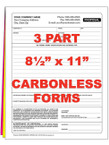 3 Part Custom Carbonless NCR Forms - From $48