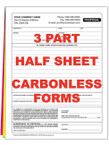 3 Part Half Sheet Custom Carbonless NCR Forms - From $49