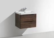 600mm Bali Chestnut Wall Mounted 2 Drawer Cabinet with Basin