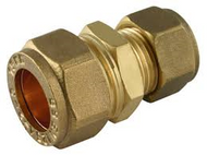 15mm x 8mm Reducing Coupler Compression  Brass Fitting