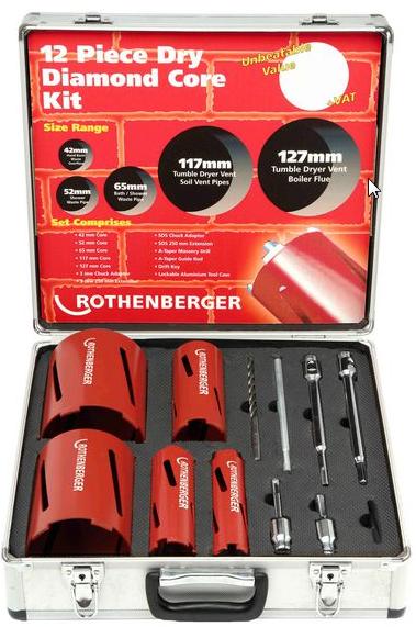 Rothenberger 12 Piece Dry Diamond Core Set