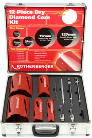 Rothenberger 12 Piece Dry Diamond Core Set