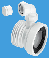 """WC CON1V 97-107mm Inlet x 4""""/110mm Outlet Straight Rigid WC Connector with 1¼"""" Universal Vent Boss"""