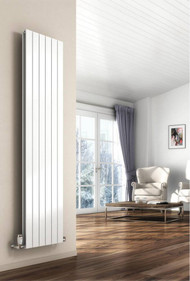 The Reina Flat Double Panel white Designer Vertical radiators are made using superior quality steel and is built to last long and comes with an impressive heat output to quickly warm up the entire room. Manufactured from mild steel, this stylish radiator is beautifully finished in white for a contemporary look. Double Panel Vertical Radiator is ideal for any modern and contemporary interior with its minimalist flat paneled design. Also Available in Anthracite finish, these flat vertical radiators are one of many stunning designs from Reina. Comes with a 5 years guarantee from the manufacturer.  Key Features:  Comes in white finish High-Quality Welding Strong and reliable Delivering superb heat output Easy to installation and Clean Offered in the size of 1800mm x 218mm Heat Output Delta T50: 3092 BTUs / 907 Watts -- Heat Output Delta T60: 3958 BTUs / 1161 Watts Suitable for Central Heating Systems only Manufactured from high-Quality Steel Material 5 years Guarantee from Manufacturer Supplied with: Product includes Brackets, Fixing Kit, Air Vent, Blanking Plug as standard.  Not included: Accessories such as Valves, Pipe Covers, and Towel Bar/Hangers are sold separately.