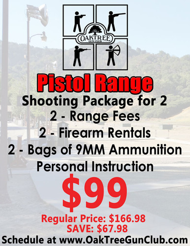 Pistol Range Package for Two Includes: 2 - Range Fees 2 - Firearm Rentals 2 - Bags of 9MM Ammunition and Personal Instruction!