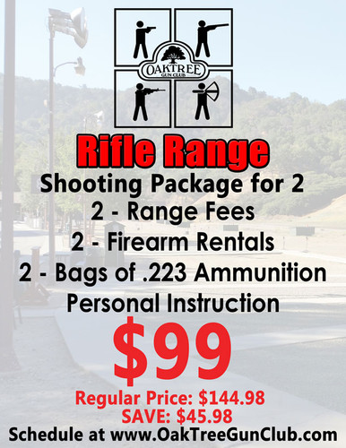 Rifle Range Package for Two Includes: 2 - Range Fees 2 - Firearm Rentals 2 - Bags of .223 Ammunition and Personal Instruction!