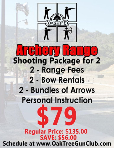 Archery Range Package for Two Includes: 2 - Range Fees 2 - Bow Rentals 2 - Bundles of Arrows and Personal Instruction!