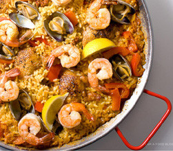 Paella in traditional steel pan