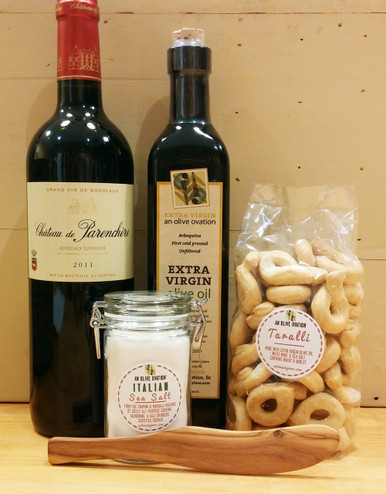 Items for the Elegant Housewarming Gift Basket with red wine