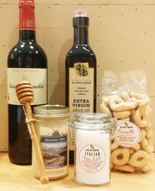 Items for Grand Housewarming Gift Basket with red wine
