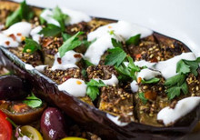 Zaatar roasted eggplant with tahini sauce