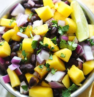 Black Bean and Mango Salsa with Jalapeno and Passion Fruit Vinaigrette