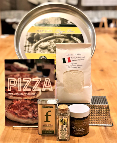 Everything for Sicilian thick crust pizza at home