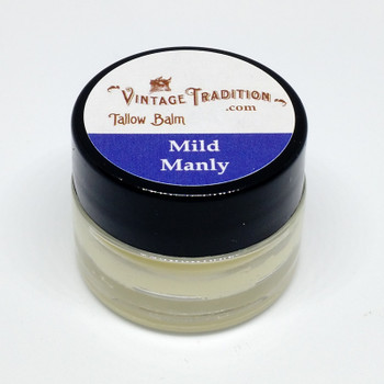Sample - Mild Manly Unscented Tallow Balm, 1/4 fl. oz. (7 ml)