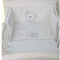 Baby Elegance Crib Quilt & Bumper Star Ted - White