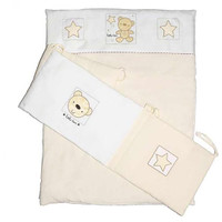 Baby Elegance Star Ted Quilt & Bumper Set Cot - Cream