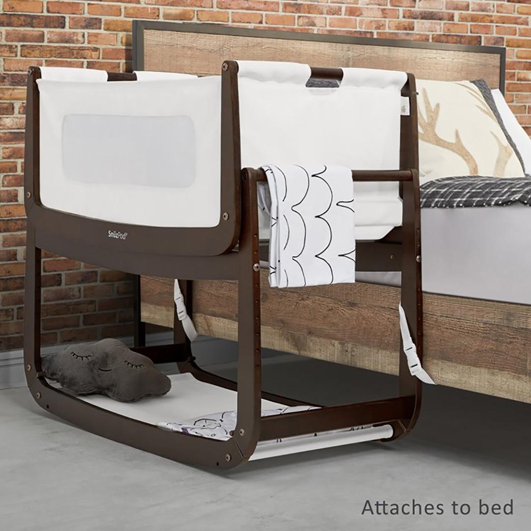 SnuzPod3 Bedside Crib Including Mattress - Espresso