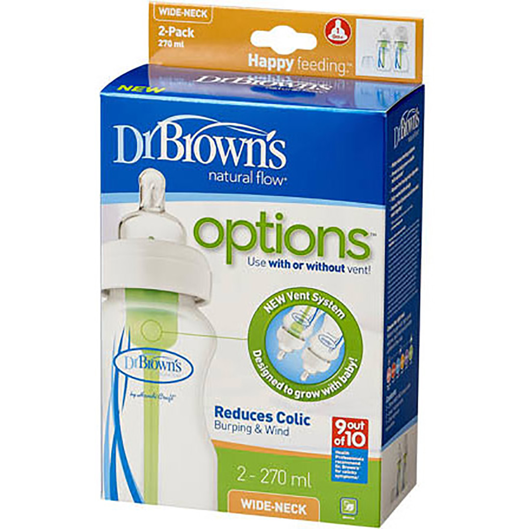 Dr Brown's Options 270 ml Bottles - Twin Pack - Blue