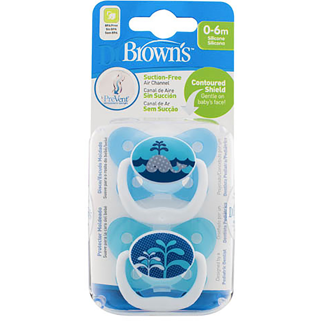 Dr Brown's PreVent Pacifier 0-6 Months - Blue (2 Pack)